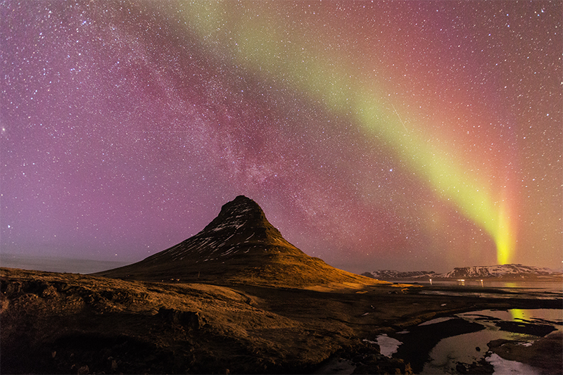 Aurora and milky way at Kirkjufell