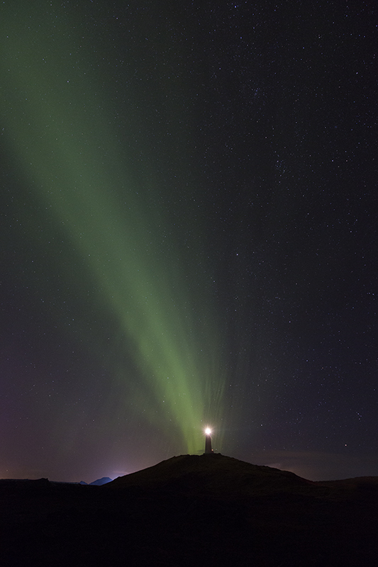 Aurora at Reykjanes lighthouse