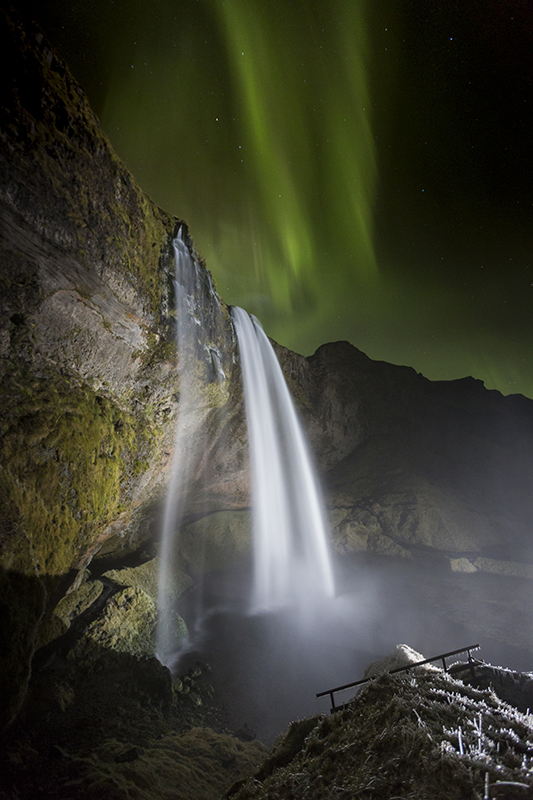 Aurora and Seljalandsfoss