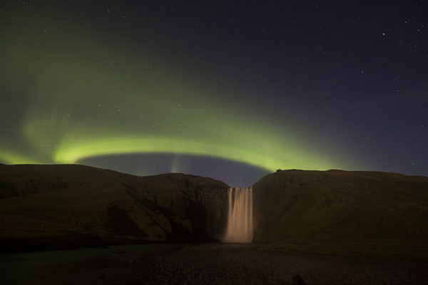 Aurora and Skógafoss