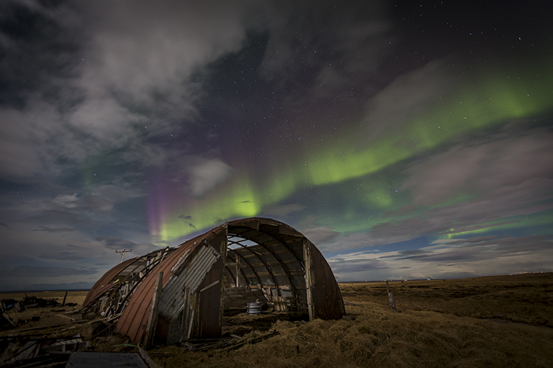 An old shed and Aurora