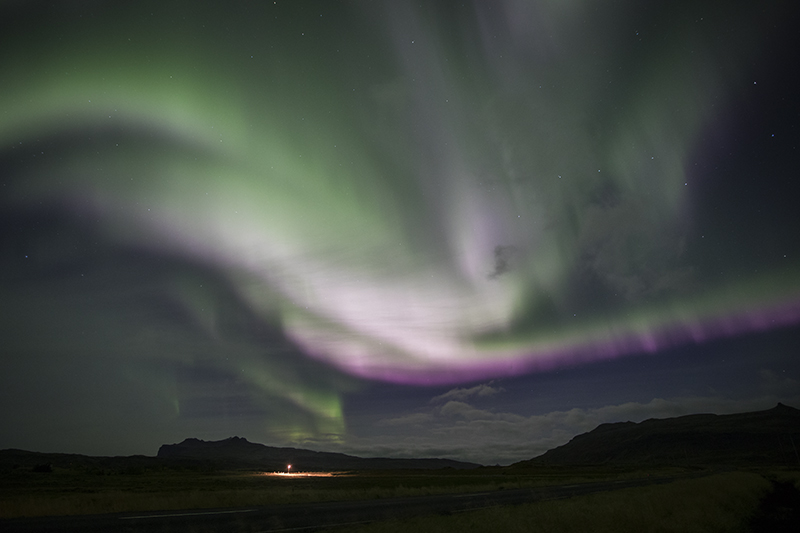 Green, white and purple Aurora