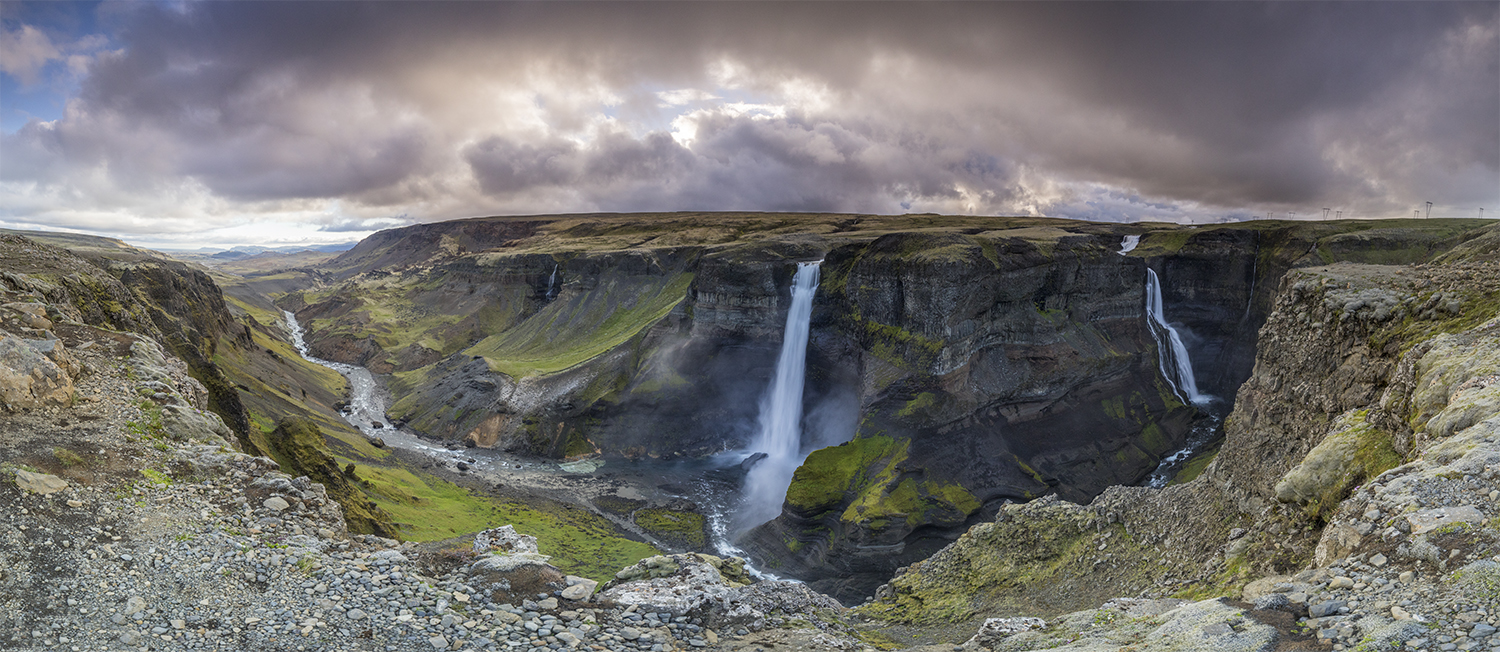 Waterfall Háifoss and Granni - pano