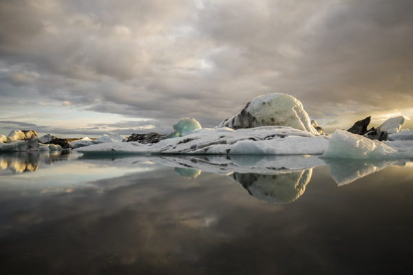 Peaceful evening at glacier lagoon