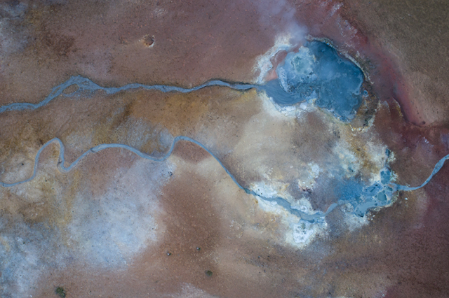 Colours of geothermal area from above