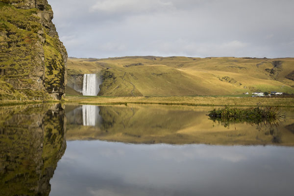 Autumn reflection at Skogafoss