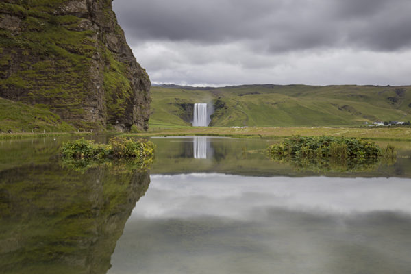 Skogafoss and its reflection
