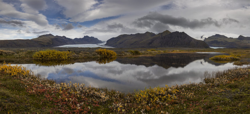 Panorama of autumn colours in Vatnajökull national park