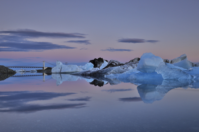 Summer night at glacier lagoon