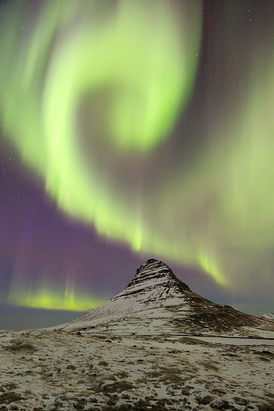 Aurora display over Kirkjufell