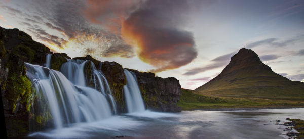 Kirkjufell and its waterfalls in pano