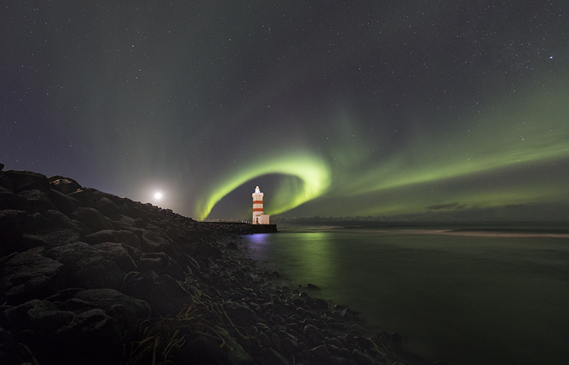 Aurora circle around Lighthouse