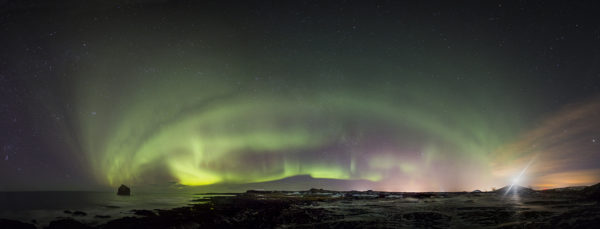 The aurora and lighthouse