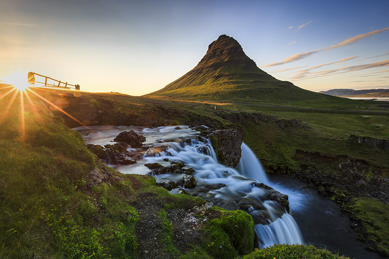 Kirkjufell and its waterfalls at sunset