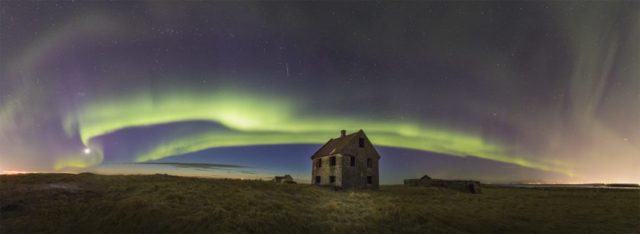 Aurora and abandoned house
