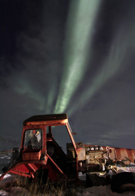 rusty tractor and aurora