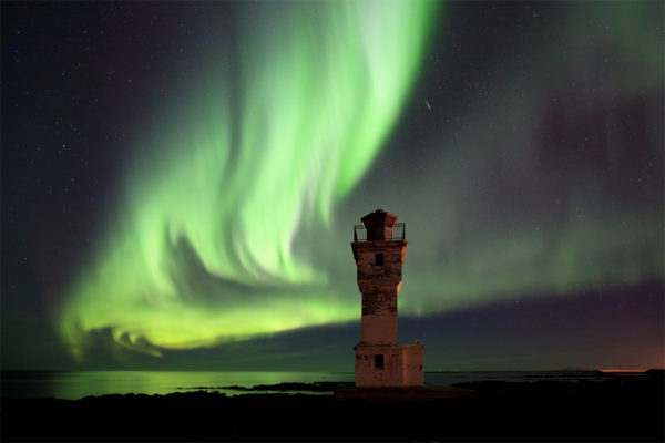 Aurora and lighthouse