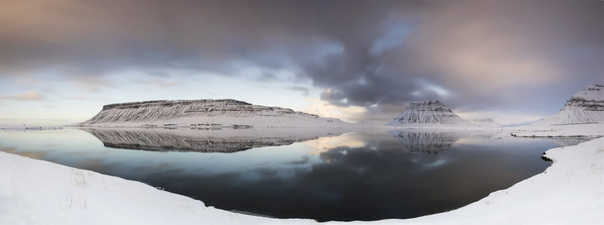 Reflection in panorama, mountain Kirkjufell