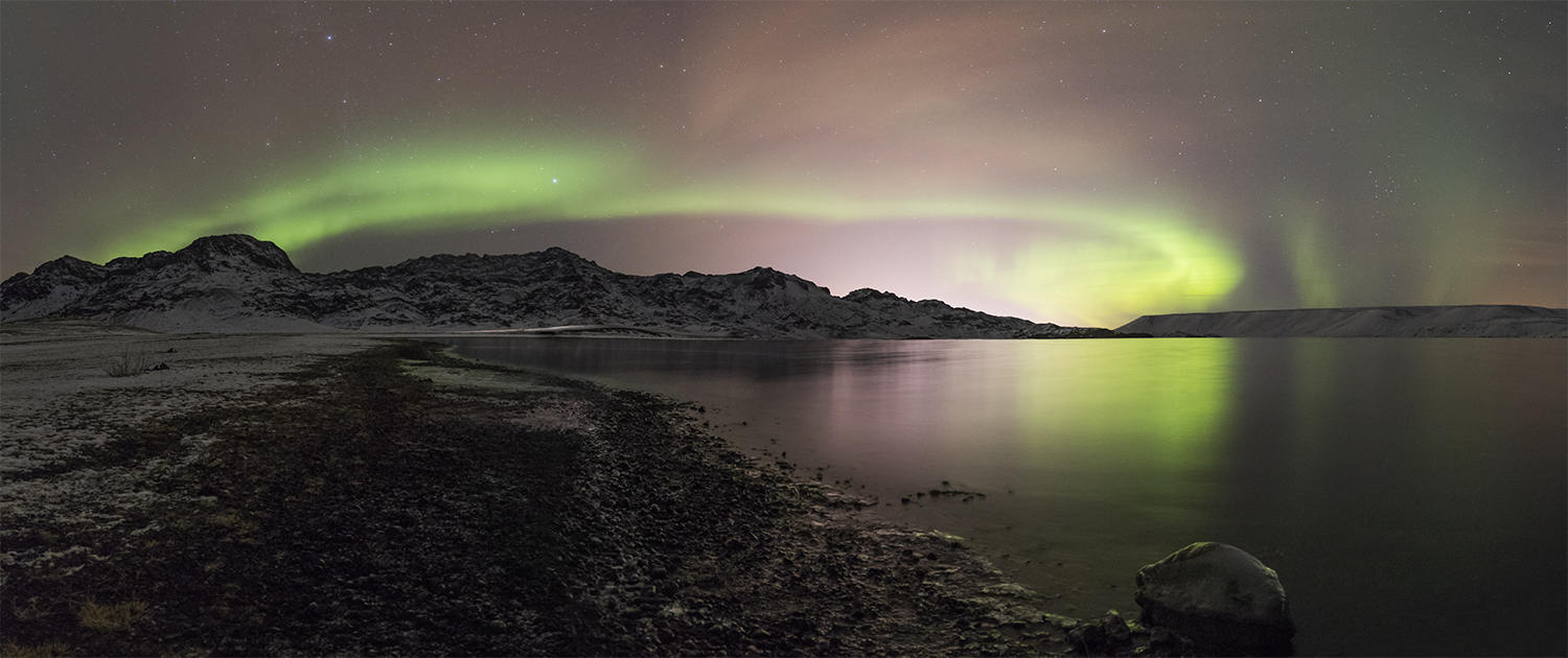 Northern lights at lake Kleifarvatn