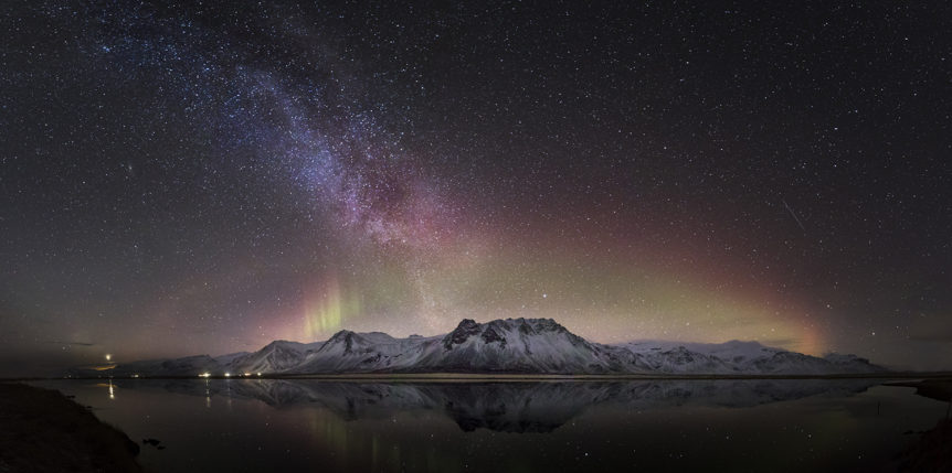 Pano and reflection of Milky way and Aurora