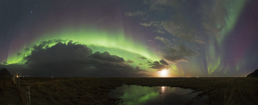 Aurora in panorama at south coast
