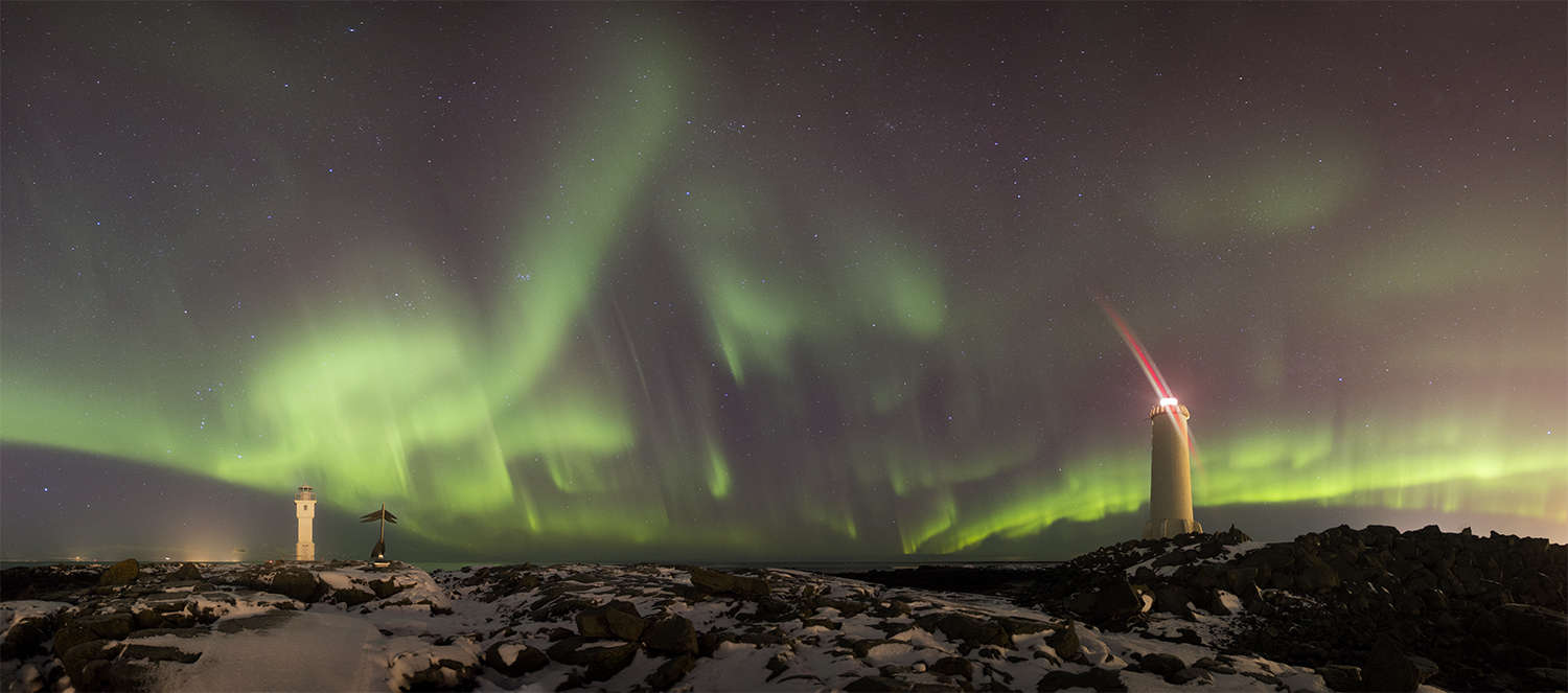 Northern lights and lighthouses in Akranes
