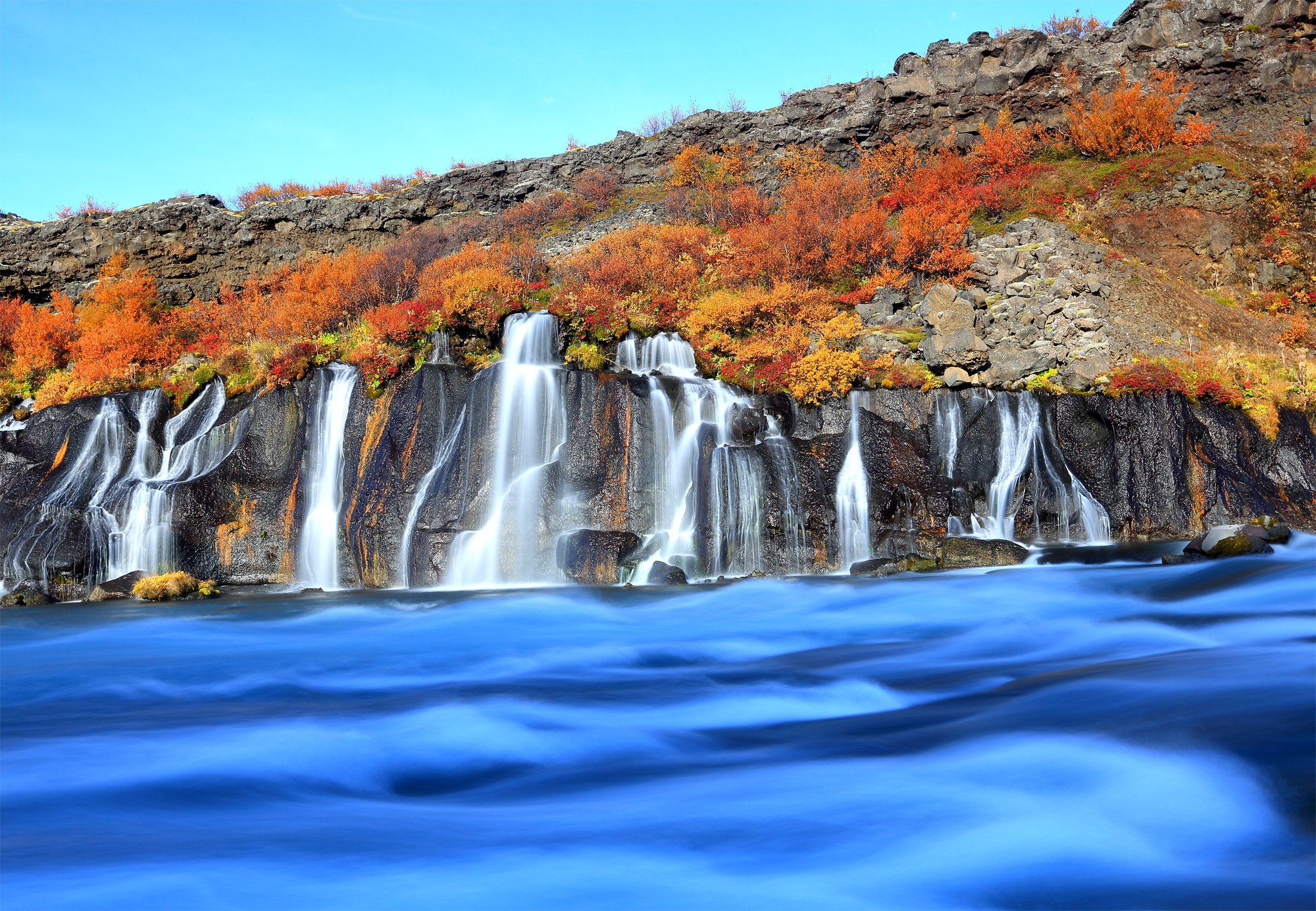 Autumn colours at lava waterfall