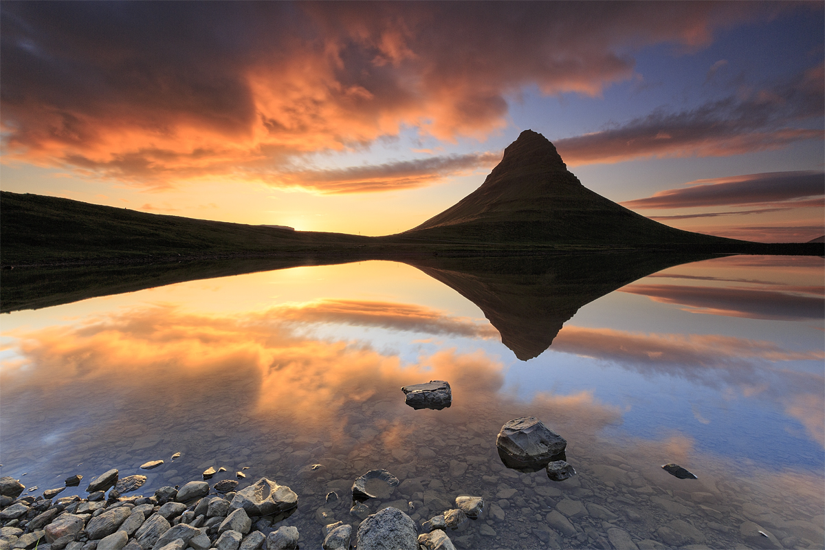 Colourful sunset at Kirkjufell