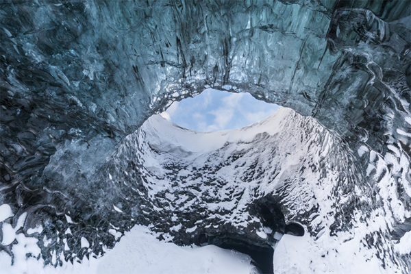 Swirl hole in ice cave