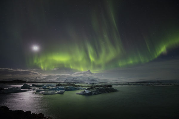 Aurora at the glacier lagoon
